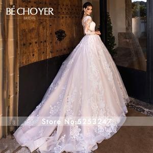 Image 4 - Vestido de Noiva Sweetheart Long Sleeve Wedding Dress Fashion Appliques A Line Court Train Princess Bride Gown BECHOYER K182