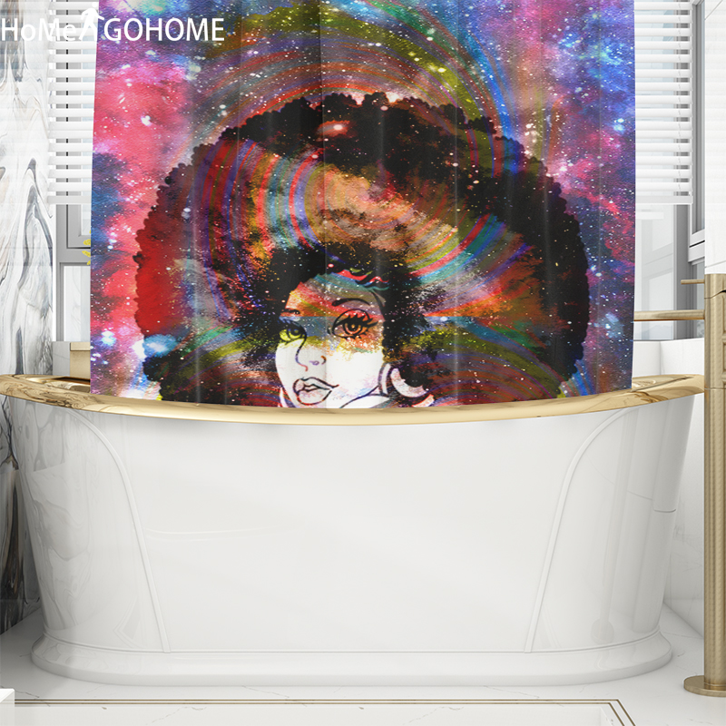 African American Bathroom Shower Curtains Boho Afro Art Rainbow Galaxy Shower Curtains Bathroom Waterproof Fabric Bath Curtains in Shower Curtains from Home Garden