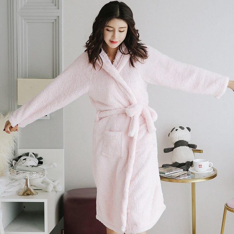 Winter Women's Robe Gown Coral Velvet Bathrobe Night Dress Pyjamas Sleepwear Autumn And Warm Sleep Femme 2019