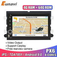 Eunavi 2 Din Android 9 Car DVD radio for Ford 500/F150/Explorer/Edge/Expedition/Mustang/fusion/Freestyle GPS stereo IPS TDA7851