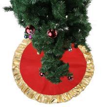 90 см Красная рождественская елка юбка круглый ковер Золотой гофрированный край Рождественское украшение для дома коврик Рождество год натальный