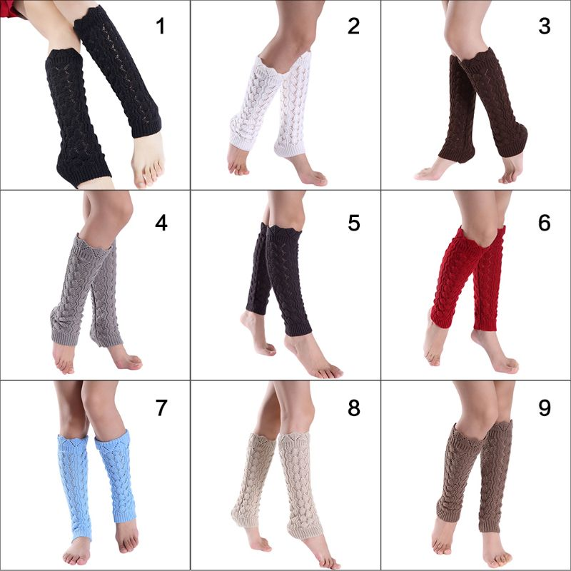 Womens Girls Hollow Out Imitation Lace Knitted Boot Cuffs Cover Wavy Trim Solid Color Knee High Long Leg Warmers Elastic Socks