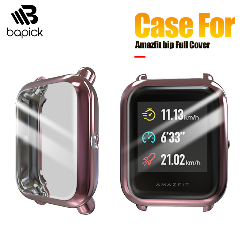 BAPICK Full Cover Soft TPU Bumper For Xiaomi Amazfit Bip Case Smart Watch Screen Protector For Amazfit Bip Lite Case Accessories