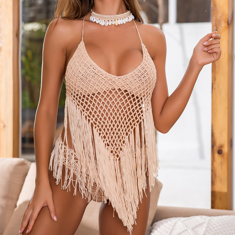 Sexy Women Lace Crochet Hollow Out Tassel Bikini Cover Up Swimwear Woman Beach Dress Bathing Suit Beachwear Immadman 7002