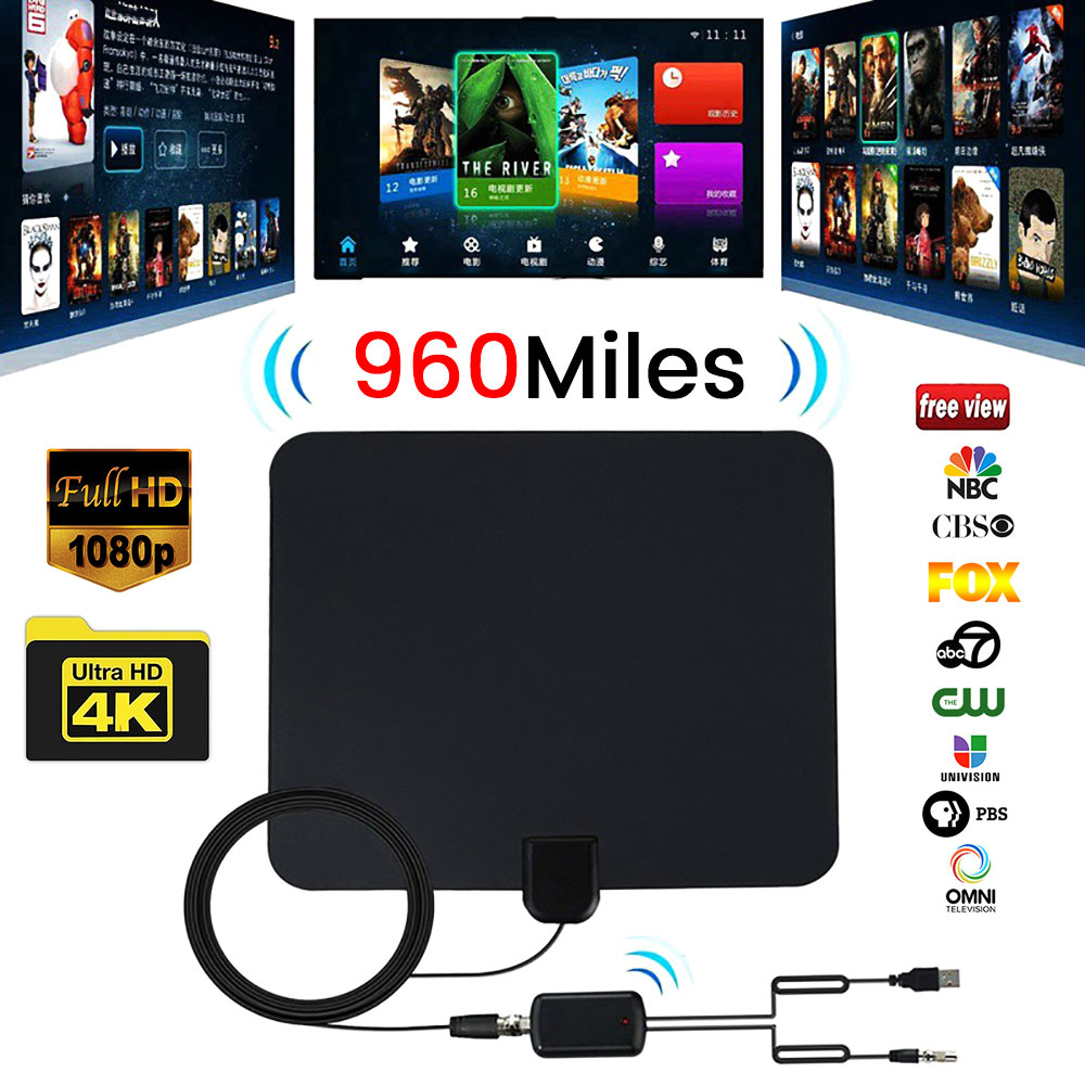 960 Mile Range Digital HD TV Antenna Indoor Amplified With 4K HD1080P DVB-T Free View Channels Broadcast Home Smart TV-Antenna