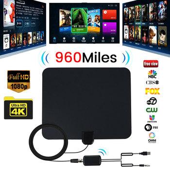 960 Mile zakres cyfrowy telewizor HD antena ze wzmocnieniem z 4K HD1080P DVB-T bezpłatny widok kanałów nadaje dom inteligentny telewizor z dostępem do kanałów-antena tanie i dobre opinie willkey 960 Mile Range Digital TV Antenna Indoor Home Smart TV antenna High Gain