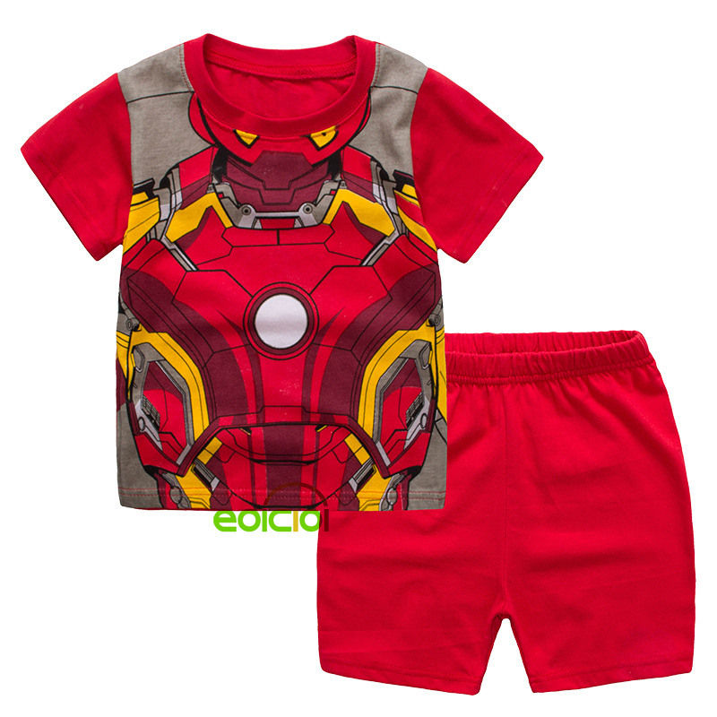 Summer Cotton Kids Super Hero Pajamas Set Baby Girls Cute Cartoon Pijamas Homewear Clothing Children Boys Short Sleeve Sleepwear