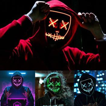 Dekoracja Halloween świecące maska Led Party Masque Masquerade maska lampa neonowa świecące w ciemności Horror dekoracja na imprezę halloweenową tanie i dobre opinie meidding CN (pochodzenie) Lattice Z tworzywa sztucznego przyjęcie urodzinowe PRIMA APRILIS THANKSGIVING CHRISTMAS wielkanoc