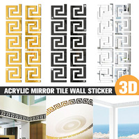 30/40/50 Uds. 3D acrílico DIY azulejo de espejo edificio borde pegatina de pared extraíble arte Mural decoración para habitación del hogar Decoración