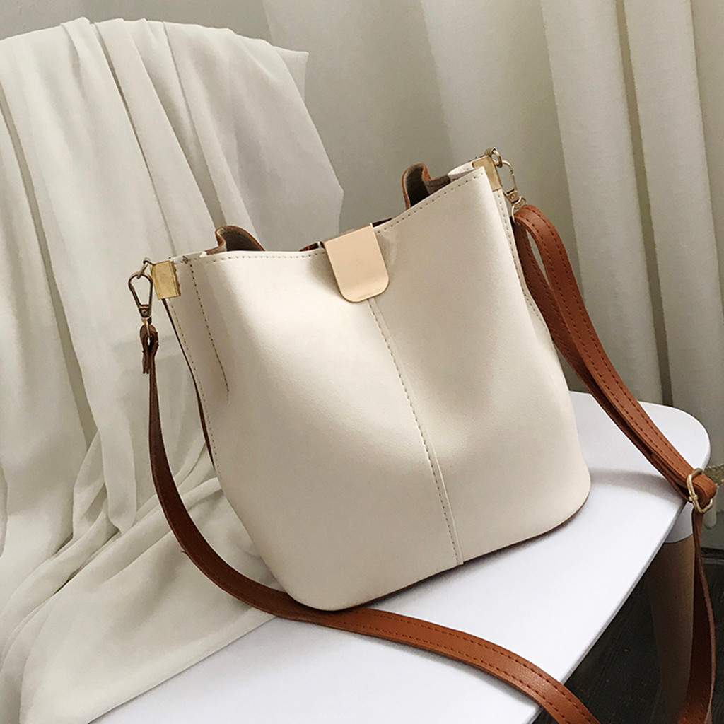 xiniu Bags For Women 2019 Ladies Vintage Pure Color Wild Messenger Bag Fashion Leather One-Shoulder Small BucketBag #0807