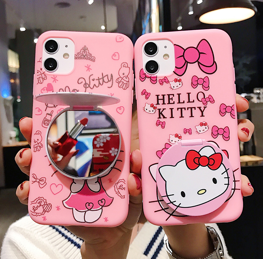 <font><b>3D</b></font> Cute Hello Kitty Soft Silicone Case With Makeup Mirrow Bracket For <font><b>Samsung</b></font> S7 S8 S9 S10 Plus A6 J5 <font><b>J7</b></font> J4 Plus A5 A7 2017 2018 image