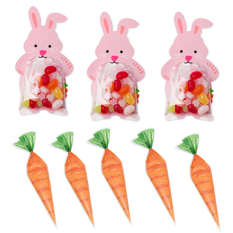 10pcs Cartoon Carrot Plastic Candy Boxes Kids Birthday Easter Party Gift Favors