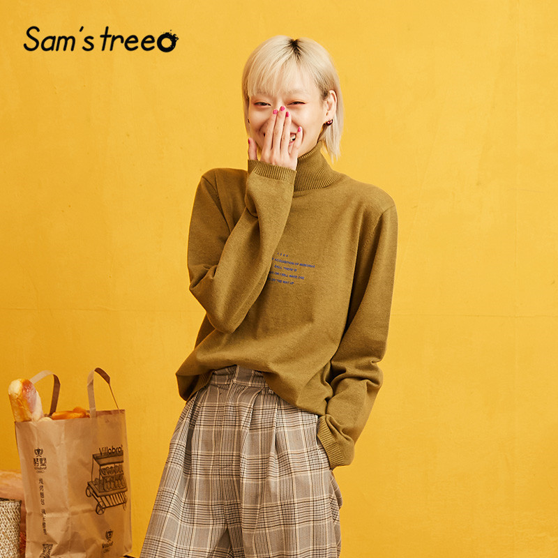 SAM'S TREE Solid Turtleneck Minimalist Style Pullover Sweater Women 2019 Autumn Full Sleeve Knitted Casual Office Ladies Tops
