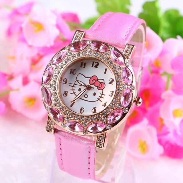 Kt gato crianças relógio de pulso de quartzo moda casual menina relógio crianças bonito pulseira de silicone atches linda 2