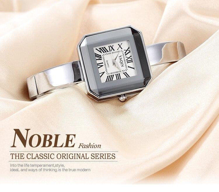 luxo pulseira de aço inoxidável quartzo senhoras