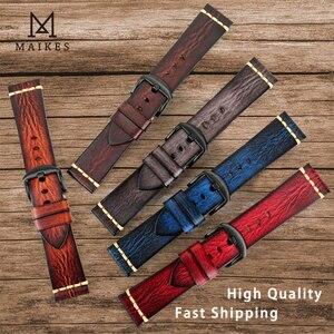Image 2 - Ремешок Maikes из натуральной кожи для Galaxy Watch, браслет для часов Tissote Timex Omega, 18 мм 20 мм 22 мм 24 мм