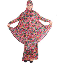 (Summer hijab for gift) Sale Popular dress New Flower patterns Prayer Robes Islamic Abaya Muslim Long Ladies Two piece Suit