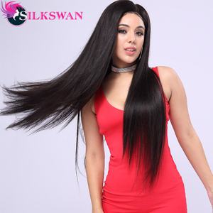 Silkswan Hair Human Hair Wigs 13x4 Lace Front wigs For Women 150 Density Brazilian hair Swiss Lace Wig Straight Remy Hair(China)