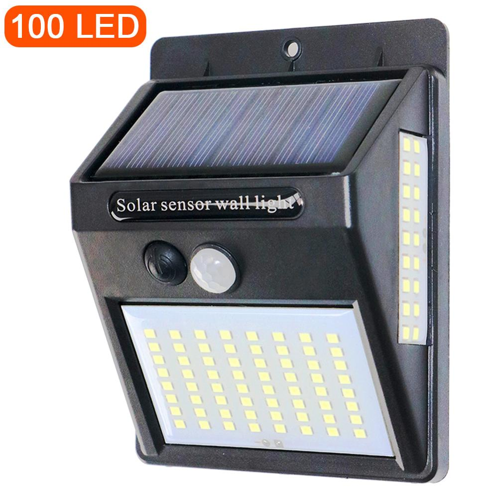PIR Motion Sensor 100LED Sunlight control 3 sided Solar Energy Street light Yard Path Home Garden Solar Power lamp Wall Light