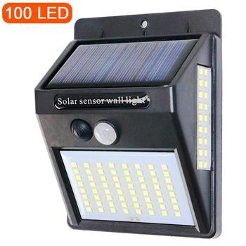Sensor de movimiento PIR, luz Solar 100LED, control de luz Solar de 3 lados, luz de calle, sendero, jardín, hogar, lámpara de energía Solar, luz de pared