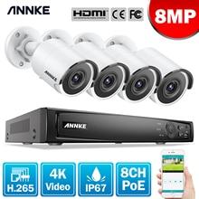 Anke 8CH 4K الترا FHD POE شبكة نظام مراقبة بالفيديو 8MP H.265 NVR مع 4X 8MP مانعة لتسرب الماء IP كاميرات أمنية CCTV عدة