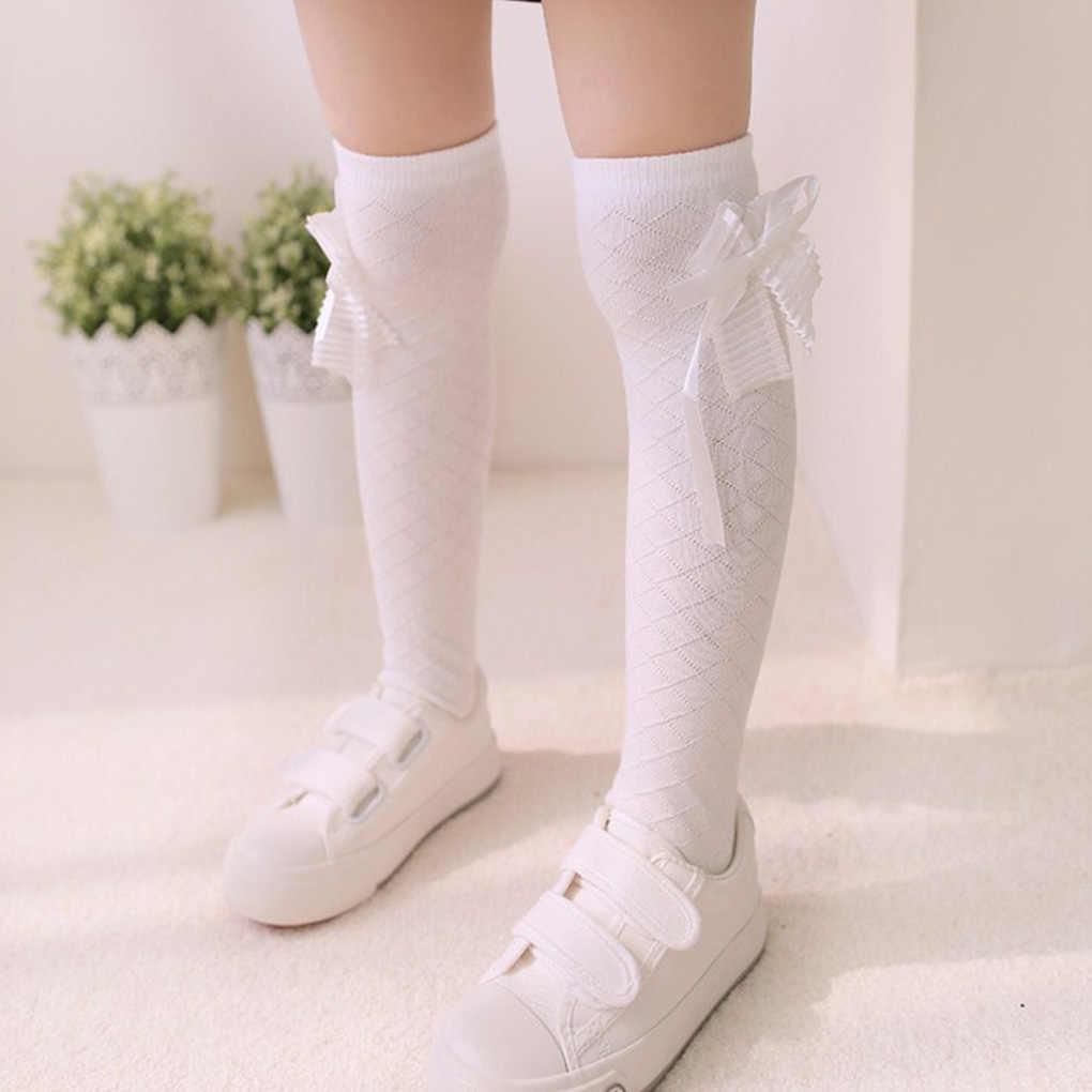 Новые брендовые Детские гольфы разных цветов, 3 пары одноцветные гольфы для маленьких девочек, хлопковые длинные носки с бантиком гетры