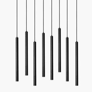 Image 2 - Luces colgantes LED de cilindro regulable, lámparas de tubo largo, decoración de cocina, comedor, tienda, Bar, cordón, lámpara colgante, luces de fondo