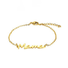 Rir aço inoxidável mama elo de corrente pulseira de ouro mãe pulseira dia das mães presente nova mama presentes