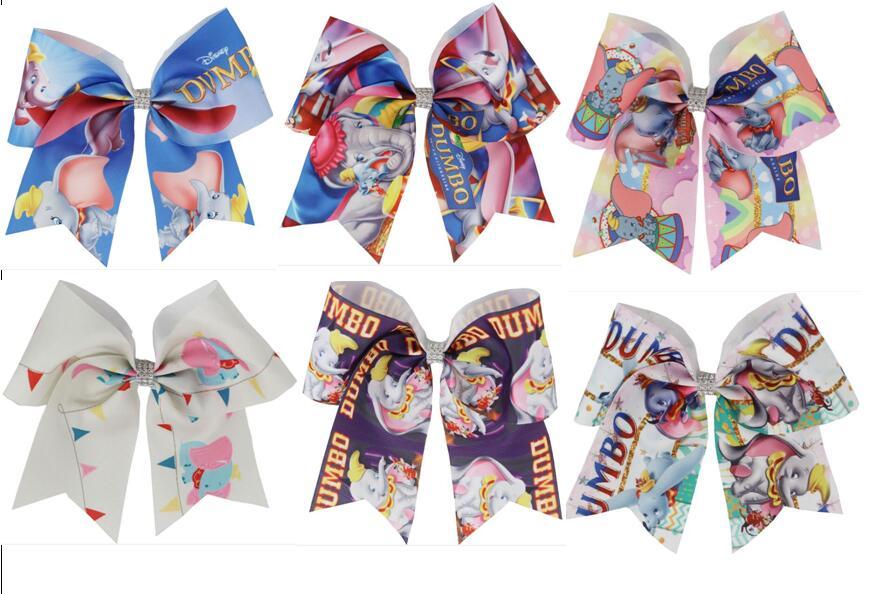 "7/"" Mermaid Printed Cheer Bow For Girls Kids Grosgrain Ribbon Bowknot Hairclips"
