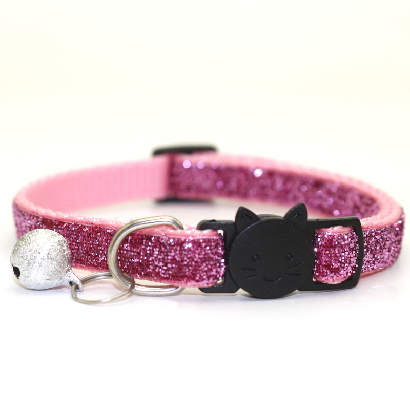Ошейник для питомца кота с колокольчиком, модный Регулируемый ошейник для котенка, кошки с блестками, шейный ремень, аксессуары для животных принадлежности для кошек - Цвет: Pink