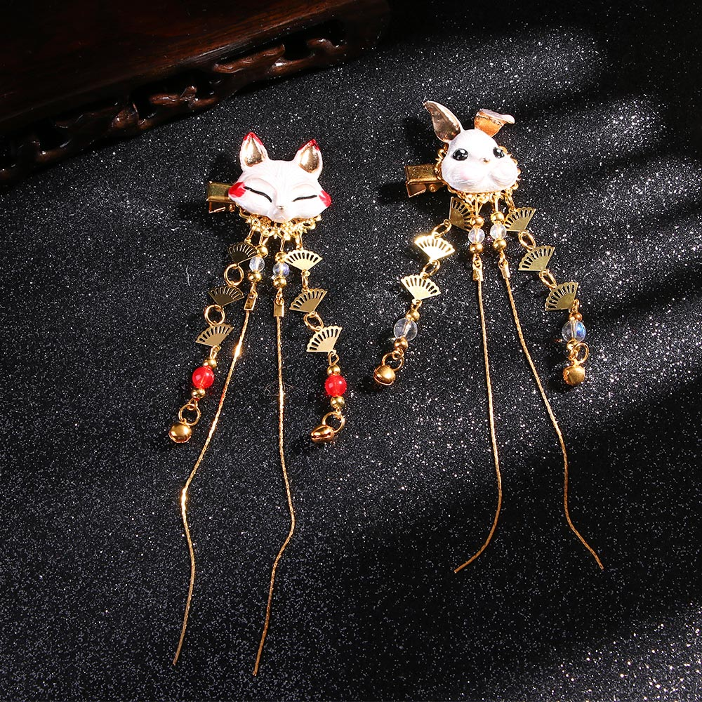 1 PC Fox Rabbit Hairpin Tassels Hair Clip Cosplay Kimono Hanfu Handwork Hair Accessories Cute Girl Hair Pins Hair Jewelry Daily
