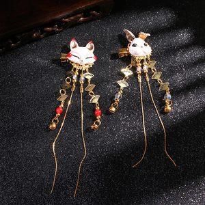 1 PC Fox Rabbit Hairpin Tassels Hair Clip Cosplay Kimono Hanfu Handwork Hair Accessories Cute Girl Hair Pins Hair Jewelry Daily(China)