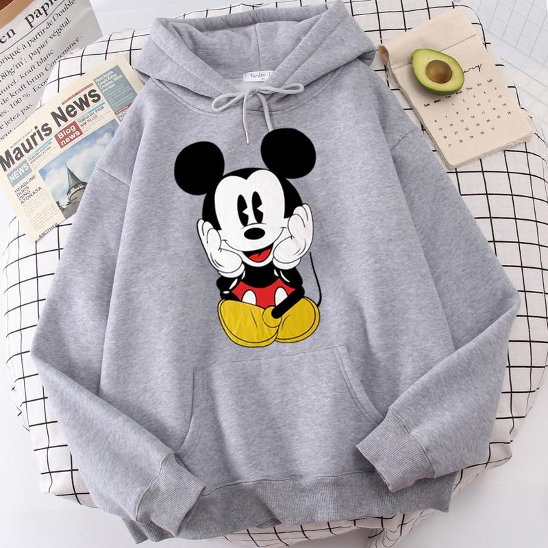 Disney Women Hoodies Minnie Mickey Mouse Hoodies Cartoon Tops Long Sleeve Pockets Sweatshirts Fashion Hooded Women 10