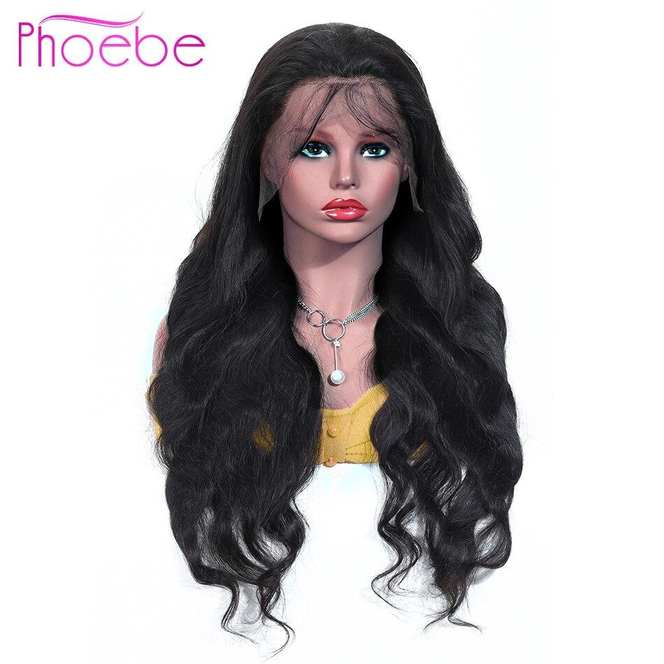 Phoebe 13x4 perucas de cabelo humano frontal do laço pré arrancadas para preto não remy onda do corpo brasileiro peruca frontal do laço 150% densidade