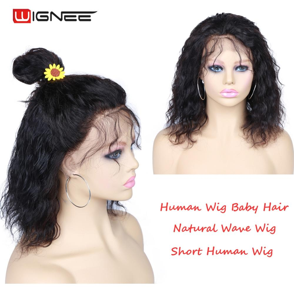 Wignee Short Hair Bob Human Hair Wigs With Baby Hair For Black Women Lace Front Natural Wave Remy Brazilian Glueless Human Wigs