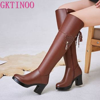GKTINOO Fashion Ladies Knee High Winter Boots Soft Genuine Leather Boots Woman Black Zip Warm Fur Women Thigh High Boots Shoes
