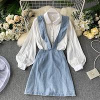 Women Two piece Sets Autumn New Beads Hollowed Out Long Sleeve Elegant Shirts + High Waist Denim Skirt Suits J696