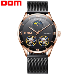 DOM Men's Tourbillon Waterproof Watches Automatic Mechanical Watches Men Moon phase Watch Male Wristwatch Relogio Masculino 2020|Mechanical Watches| |  -