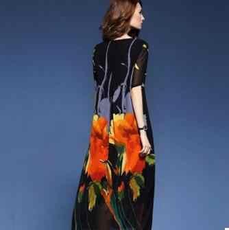 女性の夏のドレス 2020 エスニック花プリントビーチ Vestido Mujer シルクマキシドレスロングローブフェムセクシー自由奔放に生きる ZN96