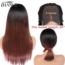 HANNE 4*4 Lace Closure Wigs For Black/White Women 150% Hair Brazilian Human Hair Wig Straight Ombre 1B/33 Color Remy Human Wigs(China)