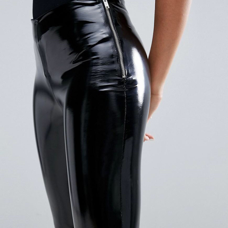 2020 Shinny Faux Leather Leggings With Side Zipper Women Wet Look High Waist PU Leather Leggings Ladies Push Up Vinyl Leggings