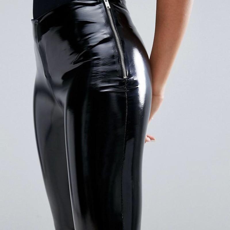 2020 Shinny Faux Leather   Leggings   with Side Zipper Women Wet Look High Waist PU Leather   Leggings   Ladies Push Up Vinyl   Leggings