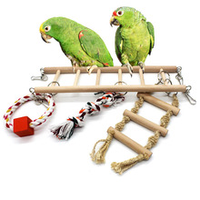 1pcs Parrot Toys Climbing Ladder Traning Item With Bell Attractive Pet Birds Hamster Cage Hanging Bridge Chew Toy