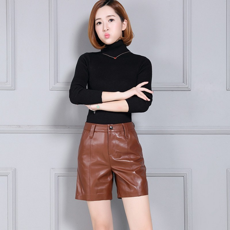 Leather Fashion Women's Short Stripe Size High Slacks Scalable Punk Comfortable High Quality Pants Women