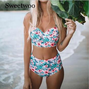 цена на Sexy Floral Print High Waist Swimsuit 2019 Bikini Push Up Swimwear Women Vintage Biquini Bathing Suit  Maillot De Bain Femme XXL