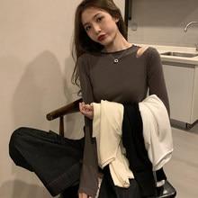Shintimes sottile moda coreana Sexy maglione sottile foro donna manica lunga autunno top 2020 Pullover lavorato a maglia abbigliamento donna Pull Femme