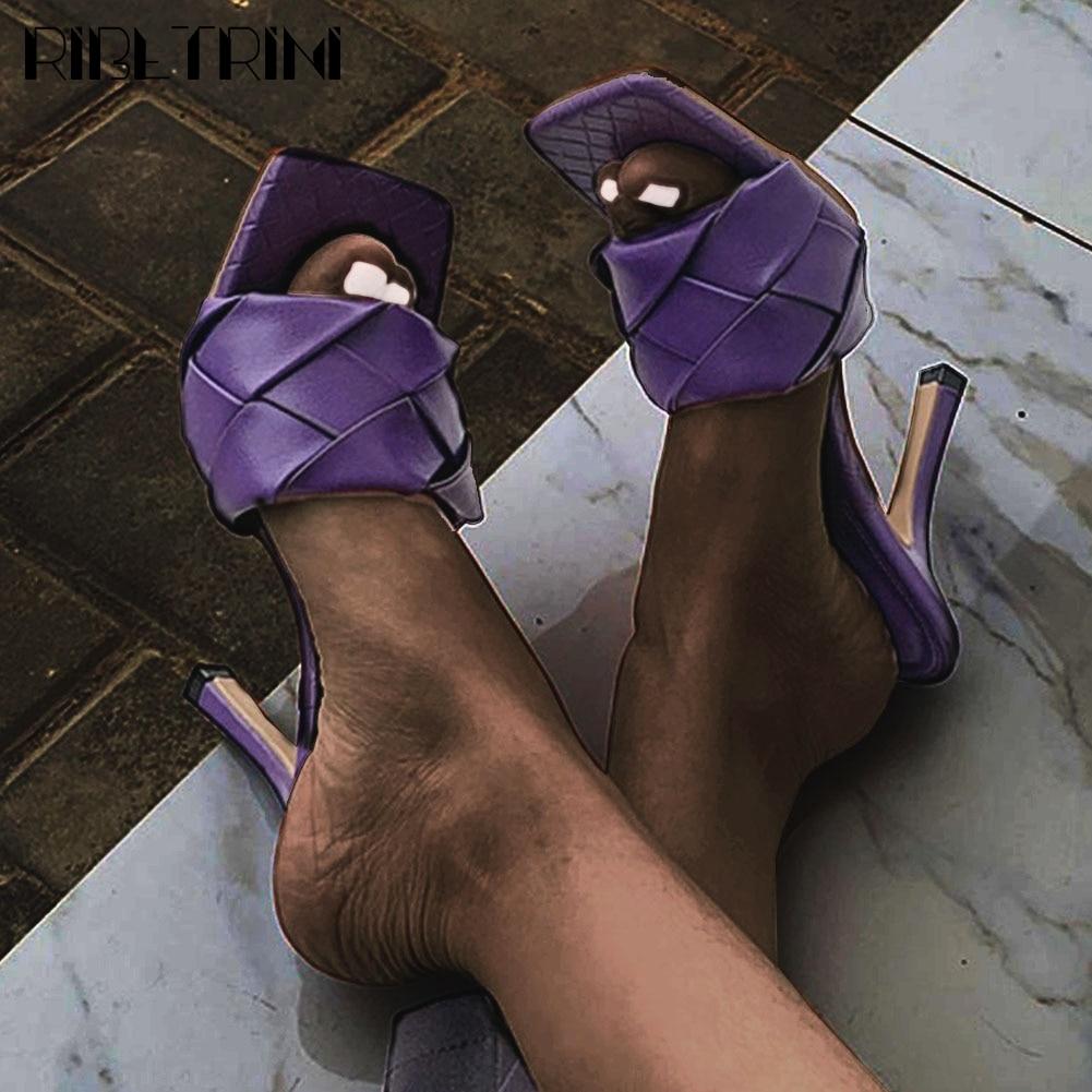 RIBETRINI 2020 New Arrival Ladies Luxury Brand Design Heels Mules Thin High Heels Mules Shoes Women 2020 Summer Shoes Woman