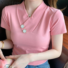 2021 Summer Clothes For Women Solid Basic Cotton T-shirt Female V-Neck Pink Casual Short Sleeve T Shirt Sexy Ladies Clothing