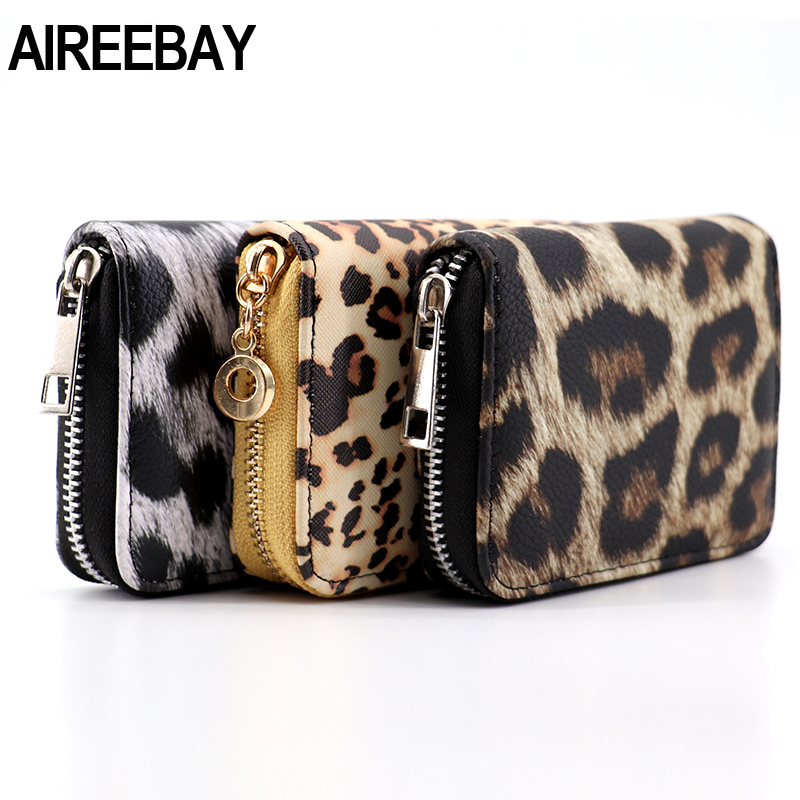 AIREEBAY Women Short Wallets New Vintage Fashion Leopard Prints Coin Purse For Girls Clutch Bag PU Leather Ladies Card Holder