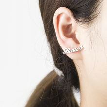 1 Pair Custom Name Earrings For Women Customize Initial Cursive Nameplate Stud Earring Bijoux Femme Jewelry Accessories Mujer